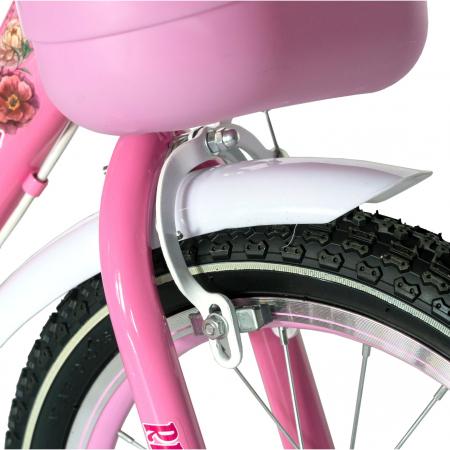 """Bicicleta fete Rich Baby T2005C, roata 20"""", C-Brake, 7-10 ani, roz/alb [4]"""