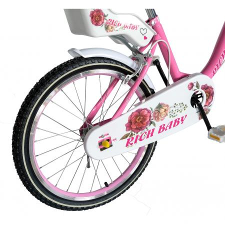 """Bicicleta fete Rich Baby T2005C, roata 20"""", C-Brake, 7-10 ani, roz/alb [3]"""