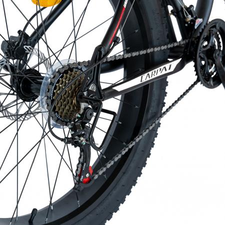 Bicicleta MTB-Fat Bike, Shimano SL-TX30 21 Viteze, Cadru Aluminiu 6061, Roti 26 Inch, Frane Hidraulice Disc, Carpat Aventus CSC26/00H, Negru cu Design Gri/Rosu [4]