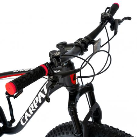 Bicicleta MTB-Fat Bike, Shimano SL-TX30 21 Viteze, Cadru Aluminiu 6061, Roti 26 Inch, Frane Hidraulice Disc, Carpat Aventus CSC26/00H, Negru cu Design Gri/Rosu [3]
