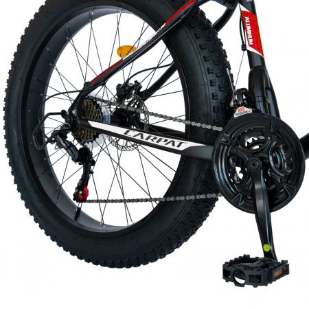 Bicicleta MTB-Fat Bike, Shimano SL-TX30 21 Viteze, Cadru Aluminiu 6061, Roti 26 Inch, Frane Hidraulice Disc, Carpat Aventus CSC26/00H, Negru cu Design Gri/Rosu [6]