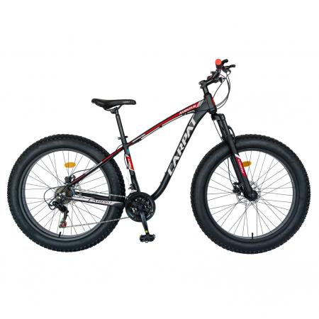 Bicicleta MTB-Fat Bike, Shimano SL-TX30 21 Viteze, Cadru Aluminiu 6061, Roti 26 Inch, Frane Hidraulice Disc, Carpat Aventus CSC26/00H, Negru cu Design Gri/Rosu [0]