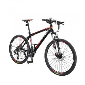 """Bicicleta MTB-HT Forever F24T1B, roata 24"""", cadru aluminiu, 27 viteze, culoare negru/rosu1"""