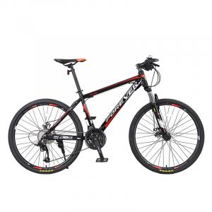 """Bicicleta MTB-HT Forever F24T1B, roata 24"""", cadru aluminiu, 27 viteze, culoare negru/rosu0"""