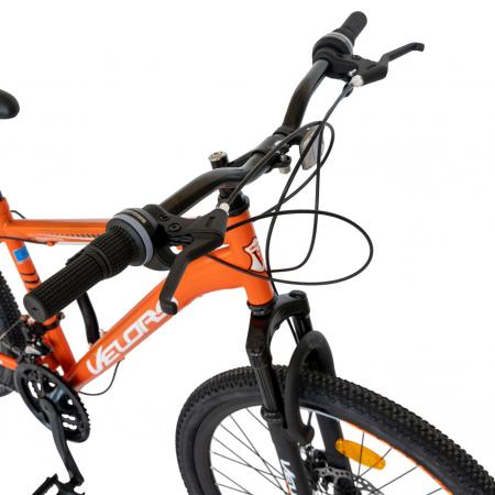 Bicicleta MTB-HT, Saiguan Revoshift 18 Viteze, Roti 24 Inch, Frane Disc, Velors Poseidon CSV24/09A, Portocaliu cu Design Alb/Negru [2]