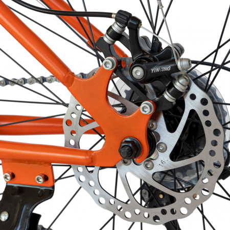 Bicicleta MTB-HT, Saiguan Revoshift 18 Viteze, Roti 24 Inch, Frane Disc, Velors Poseidon CSV24/09A, Portocaliu cu Design Alb/Negru [6]