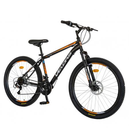Bicicleta MTB-HT, Schimbator Saiguan, 18 Viteze, Roti 26 Inch, Frane pe Disc, Velors Poseidon CSV26/09A, Negru cu Design Portocaliu [1]