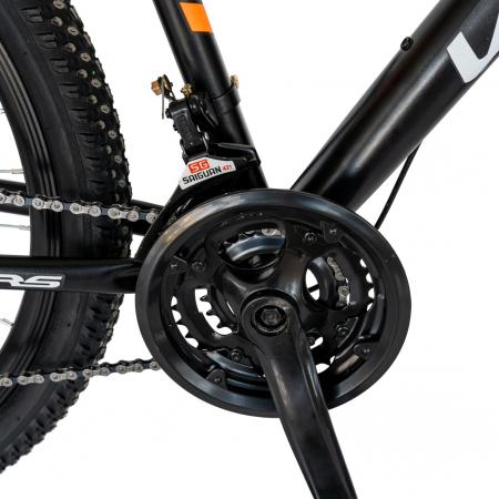 Bicicleta MTB-HT, Schimbator Saiguan, 18 Viteze, Roti 26 Inch, Frane pe Disc, Velors Poseidon CSV26/09A, Negru cu Design Portocaliu [4]