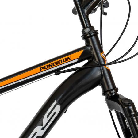 Bicicleta MTB-HT, Schimbator Saiguan, 18 Viteze, Roti 26 Inch, Frane pe Disc, Velors Poseidon CSV26/09A, Negru cu Design Portocaliu [3]