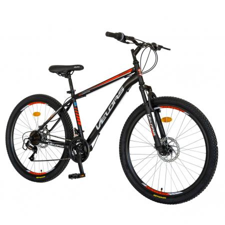 Bicicleta MTB-HT, Schimbator Saiguan, 18 Viteze, Roti 26 Inch, Frane pe Disc, Velors Poseidon CSV26/09A, Negru cu Design Rosu [1]