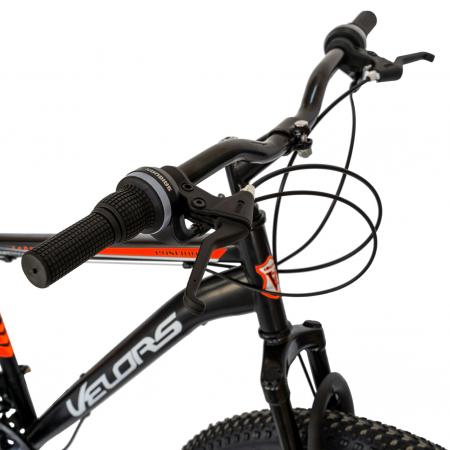 Bicicleta MTB-HT, Schimbator Saiguan, 18 Viteze, Roti 26 Inch, Frane pe Disc, Velors Poseidon CSV26/09A, Negru cu Design Rosu [2]