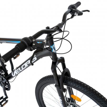 Bicicleta MTB-HT, Schimbator Saiguan, 18 Viteze, Roti 27.5 Inch, Frane pe Disc,Velors Poseidon CSV27/09A, Negru cu Design Albastru [5]