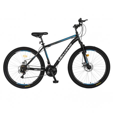 Bicicleta MTB-HT, Schimbator Saiguan, 18 Viteze, Roti 27.5 Inch, Frane pe Disc,Velors Poseidon CSV27/09A, Negru cu Design Albastru [0]