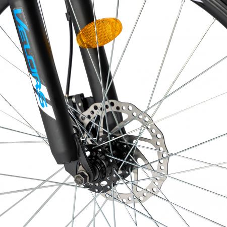 Bicicleta MTB-HT, Shimano Tourney TZ500D, 18 Viteze, Roti 27.5 Inch, Frane pe Disc, Velors CSV27/60D, Negru cu Design Albastru [8]