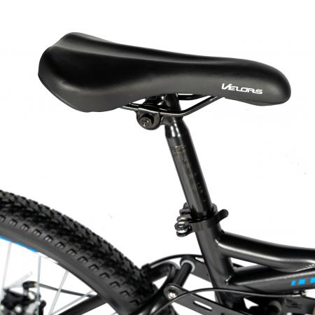 Bicicleta MTB-HT, Shimano Tourney TZ500D, 18 Viteze, Roti 27.5 Inch, Frane pe Disc, Velors CSV27/60D, Negru cu Design Albastru [1]