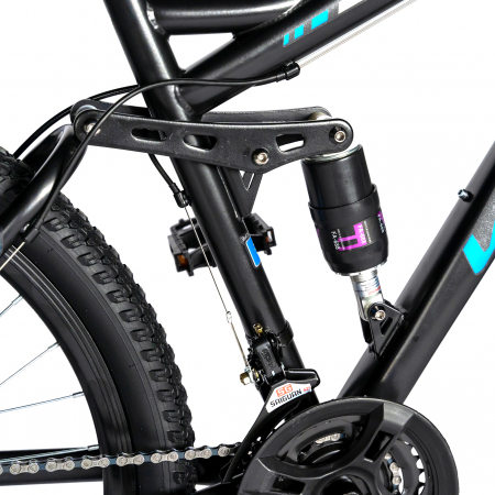 Bicicleta MTB-HT, Shimano Tourney TZ500D, 18 Viteze, Roti 27.5 Inch, Frane pe Disc, Velors CSV27/60D, Negru cu Design Albastru [5]
