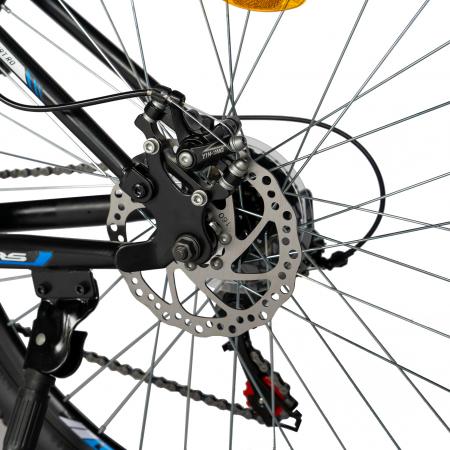 Bicicleta MTB-HT, Shimano Tourney TZ500D, 18 Viteze, Roti 27.5 Inch, Frane pe Disc, Velors CSV27/60D, Negru cu Design Albastru [9]