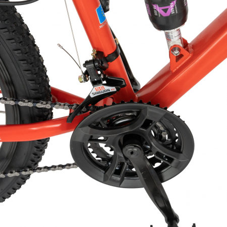 Bicicleta MTB-HT, Shimano Tourney TZ500D, 18 viteze, Roti 27.5 Inch, Frane pe Disc, Velors CSV27/60D, Rosu cu Design Negru [5]