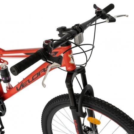 Bicicleta MTB-HT, Shimano Tourney TZ500D, 18 viteze, Roti 27.5 Inch, Frane pe Disc, Velors CSV27/60D, Rosu cu Design Negru [6]