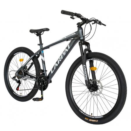 Bicicleta MTB-HT, Shimano Tourney TZ500D, 21 viteze, Roti 26 Inch, Cadru Aluminiu 6061, Frane pe Disc, Carpat CSC26/58C, Gri cu Design Alb/Negru [1]