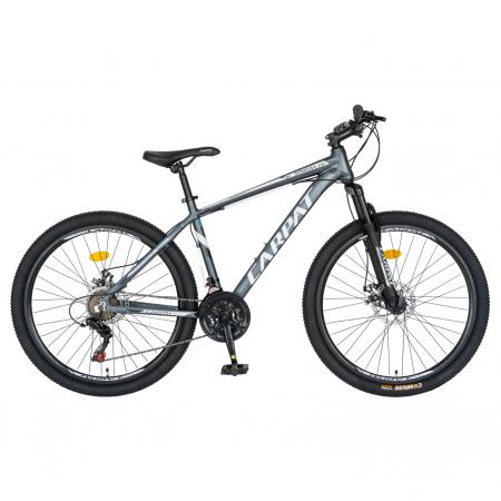 Bicicleta MTB-HT, Shimano Tourney TZ500D, 21 viteze, Roti 26 Inch, Cadru Aluminiu 6061, Frane pe Disc, Carpat CSC26/58C, Gri cu Design Alb/Negru [0]