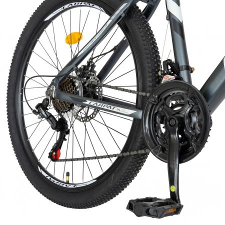 Bicicleta MTB-HT, Shimano Tourney TZ500D, 21 viteze, Roti 26 Inch, Cadru Aluminiu 6061, Frane pe Disc, Carpat CSC26/58C, Gri cu Design Alb/Negru [4]