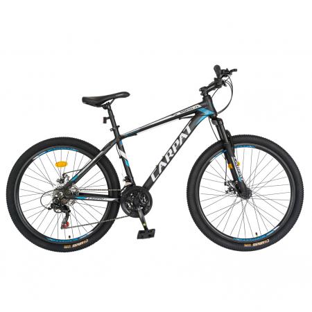 Bicicleta MTB-HT, Shimano Tourney TZ500D, 21 viteze, Roti 26 Inch, Cadru Aluminiu 6061, Frane pe Disc, Carpat CSC26/58C, Negru cu Design Albastru/Alb [0]
