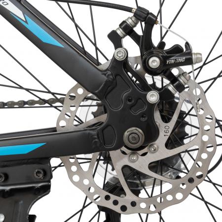 Bicicleta MTB-HT, Shimano Tourney TZ500D, 21 viteze, Roti 26 Inch, Cadru Aluminiu 6061, Frane pe Disc, Carpat CSC26/58C, Negru cu Design Albastru/Alb [4]