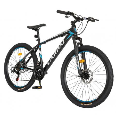 Bicicleta MTB-HT, Shimano Tourney TZ500D, 21 viteze, Roti 26 Inch, Cadru Aluminiu 6061, Frane pe Disc, Carpat CSC26/58C, Negru cu Design Albastru/Alb [1]