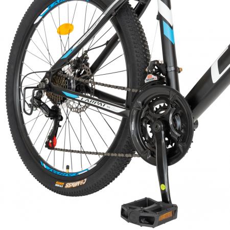 Bicicleta MTB-HT, Shimano Tourney TZ500D, 21 viteze, Roti 26 Inch, Cadru Aluminiu 6061, Frane pe Disc, Carpat CSC26/58C, Negru cu Design Albastru/Alb [5]