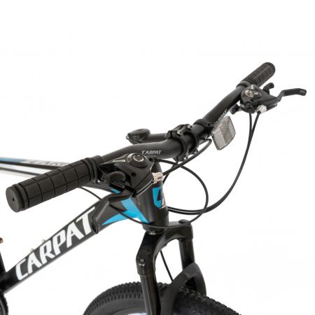 Bicicleta MTB-HT, Shimano Tourney TZ500D, 21 viteze, Roti 26 Inch, Cadru Aluminiu 6061, Frane pe Disc, Carpat CSC26/58C, Negru cu Design Albastru/Alb [2]