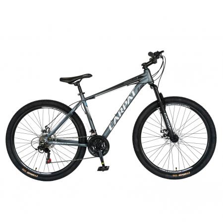Bicicleta MTB-HT, Shimano Tourney TZ500D, 21 viteze, Roti 27.5 Inch, Cadru Aluminiu 6061, Frane pe Disc, Carpat CSC27/58C, Gri cu Design Alb/Negru [0]