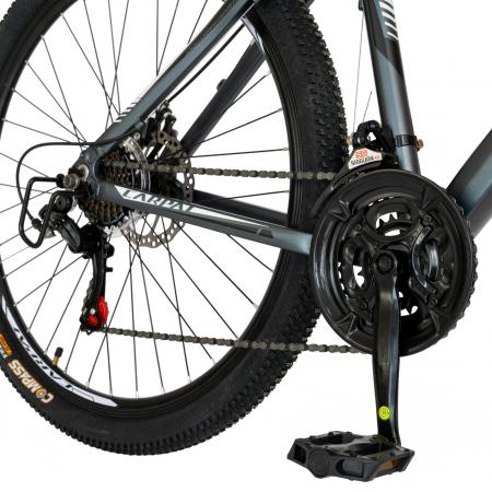 Bicicleta MTB-HT, Shimano Tourney TZ500D, 21 viteze, Roti 27.5 Inch, Cadru Aluminiu 6061, Frane pe Disc, Carpat CSC27/58C, Gri cu Design Alb/Negru [5]