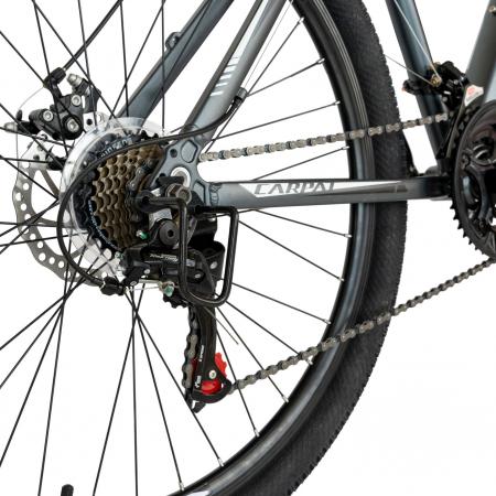 Bicicleta MTB-HT, Shimano Tourney TZ500D, 21 viteze, Roti 27.5 Inch, Cadru Aluminiu 6061, Frane pe Disc, Carpat CSC27/58C, Gri cu Design Alb/Negru [6]