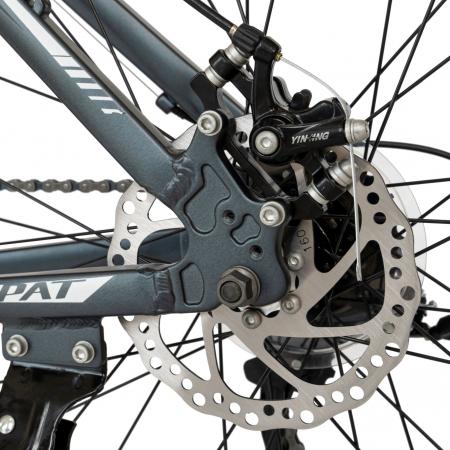 Bicicleta MTB-HT, Shimano Tourney TZ500D, 21 viteze, Roti 27.5 Inch, Cadru Aluminiu 6061, Frane pe Disc, Carpat CSC27/58C, Gri cu Design Alb/Negru [4]