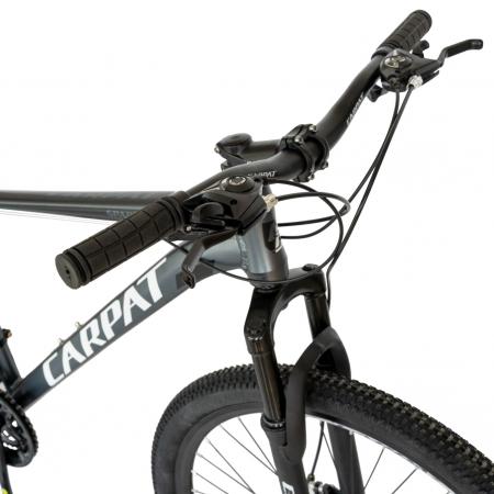 Bicicleta MTB-HT, Shimano Tourney TZ500D, 21 viteze, Roti 27.5 Inch, Cadru Aluminiu 6061, Frane pe Disc, Carpat CSC27/58C, Gri cu Design Alb/Negru [2]