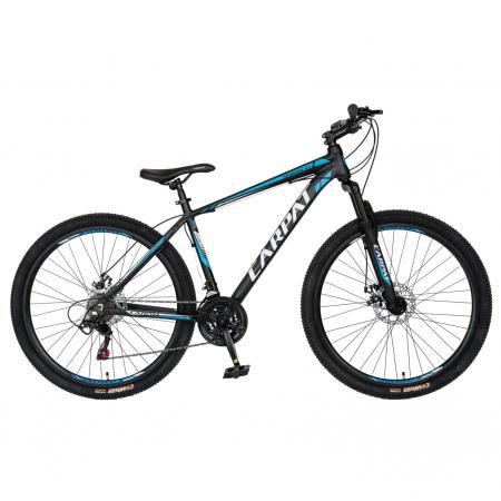 Bicicleta MTB-HT, Shimano Tourney TZ500D, 21 viteze, Roti 27.5 Inch, Cadru Aluminiu 6061, Frane pe Disc, Carpat CSC27/58C, Negru cu Design Alb/Albastru [0]