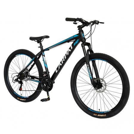 Bicicleta MTB-HT, Shimano Tourney TZ500D, 21 viteze, Roti 27.5 Inch, Cadru Aluminiu 6061, Frane pe Disc, Carpat CSC27/58C, Negru cu Design Alb/Albastru [1]