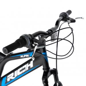 Bicicleta MTB-FS, Saiguan Revoshift 18 Viteze, Roti 24 Inch, Frane V-Brake, RICH CSR24/49A, Cadru Negru cu Design Albastru [8]