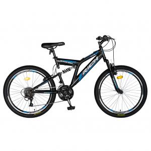 Bicicleta MTB-FS, Saiguan Revoshift 18 Viteze, Roti 24 Inch, Frane V-Brake, RICH CSR24/49A, Cadru Negru cu Design Albastru [0]