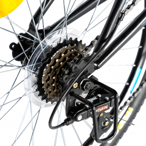 Bicicleta MTB-FS, Saiguan Revoshift 18 Viteze, Roti 24 Inch, Frane V-Brake, RICH CSR24/49A, Cadru Negru cu Design Albastru [3]