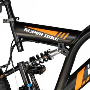 """Bicicleta munte, dubla suspensie, RICH R2449A, roata 24"""", frana V-Brake, 18 viteze, negru/portocaliu7"""