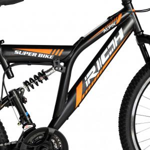 """Bicicleta munte, dubla suspensie, RICH R2449A, roata 24"""", frana V-Brake, 18 viteze, negru/portocaliu6"""