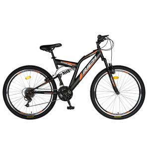 """Bicicleta munte, dubla suspensie, RICH R2449A, roata 24"""", frana V-Brake, 18 viteze, negru/portocaliu0"""