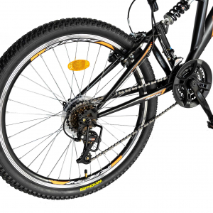 """Bicicleta munte, dubla suspensie, RICH R2449A, roata 24"""", frana V-Brake, 18 viteze, negru/portocaliu3"""