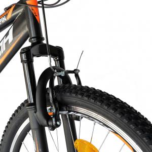 """Bicicleta munte, dubla suspensie, RICH R2449A, roata 24"""", frana V-Brake, 18 viteze, negru/portocaliu8"""