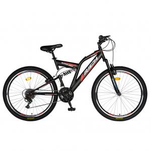 """Bicicleta munte, dubla suspensie, RICH R2649A, roata 26"""", frana V-Brake, 18 viteze, negru / rosu0"""