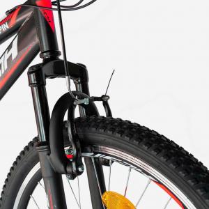 """Bicicleta munte, dubla suspensie, RICH R2649A, roata 26"""", frana V-Brake, 18 viteze, negru / rosu7"""