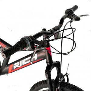 """Bicicleta munte, dubla suspensie, RICH R2649A, roata 26"""", frana V-Brake, 18 viteze, negru / rosu9"""