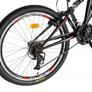 """Bicicleta munte, dubla suspensie, RICH R2649A, roata 26"""", frana V-Brake, 18 viteze, negru / rosu2"""